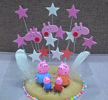 4pcs Peppa Pig And A Set Of Stars Cake Toppers Cupcake For Party Birthday