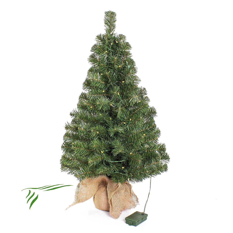 Mini Weihnachtsbaum WARSCHAU mit LED's, Jutesack, 90 cm, Ø 50 cm - Künstlicher Christbaum - artplants
