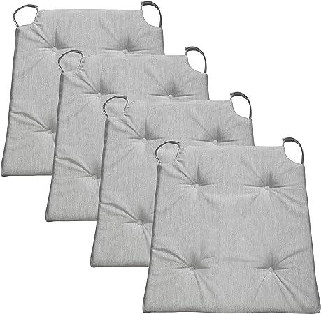 Traumnacht Basis, Cuscino per Sedia, Set di 4, Grigio Chiaro, 40 x 42 x 4cm