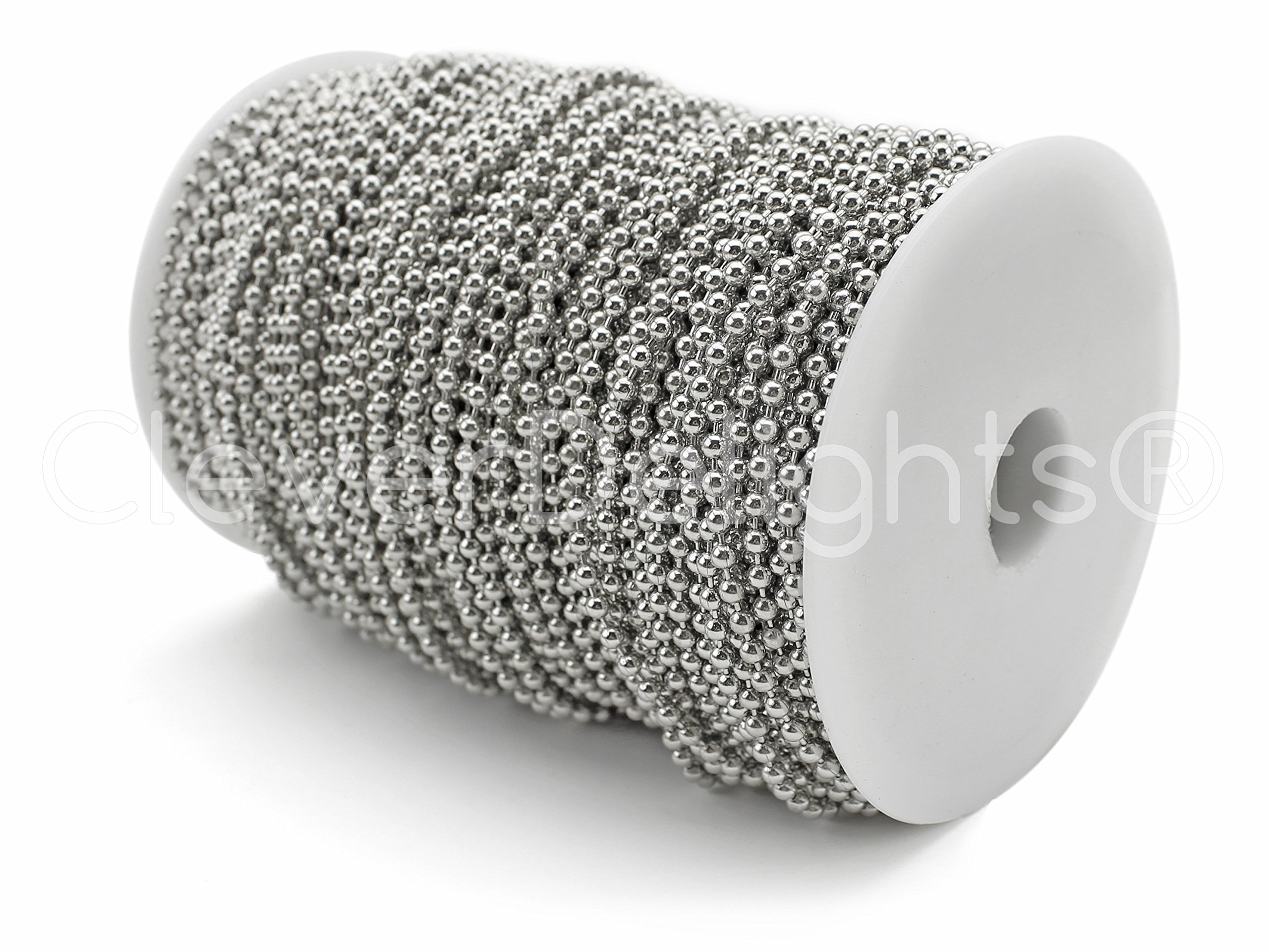 CleverDelights Ball Chain Spool - 330 Feet - 3.2mm Ball (#6 Size) - Antique Silver (Platinum) - 100 Meter by CleverDelights