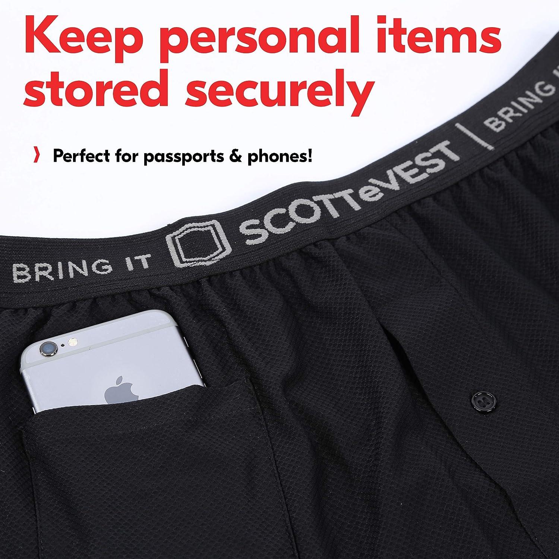 Travel Boxers SCOTTeVEST Travel Underwear Men with Pockets 2 Hidden Pockets
