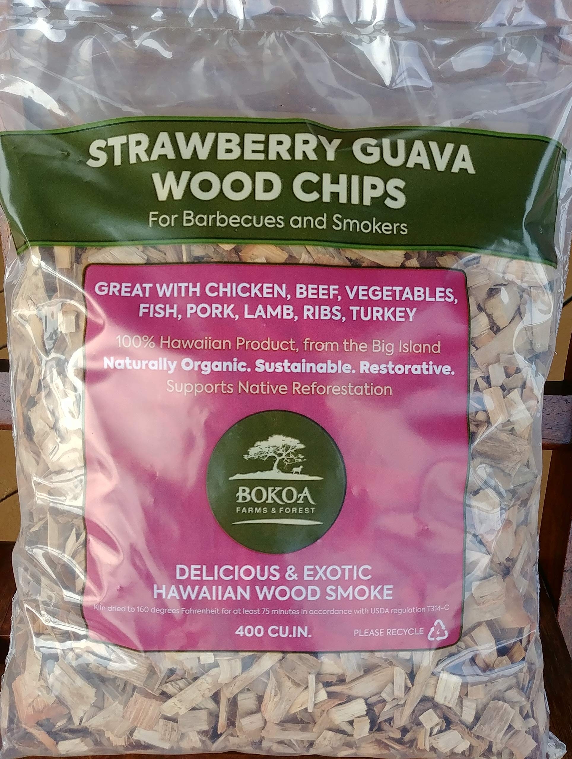 Bokoa Farms and Forest Strawberry Guava Wood Chips from Hawaii Big Bag 4 lbs/400 Cubic inches (1.7 gallons) by Bokoa Farms and Forest