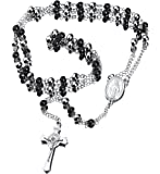 "30"" Stainless Steel Rosary Beads Necklace with Jesus Christ Crucifix Cross"