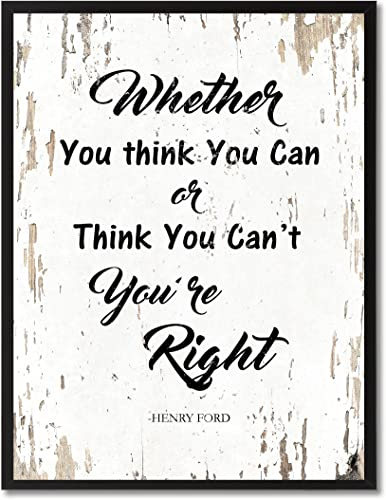 SpotColorArt Whether You Think You Can Or Can t You re Right Framed Canvas Art, 13 x 17 , White