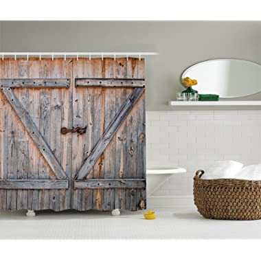 Ambesonne Fabric Shower Curtain Country Decor by, Old Wooden Garage Door American Style Decorations for Bathroom Print Vintage Rustic Theme Decor Home Antiqued Look Polyester Bronze Charcoal