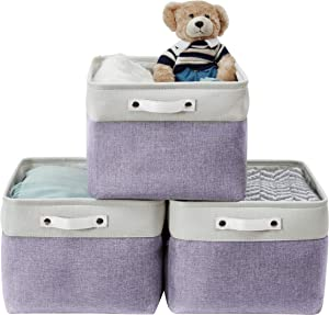 DECOMOMO Foldable Storage Bin Collapsible Sturdy Cationic Fabric Storage Basket Cube W/Handles for Organizing Shelf Nursery Home Closet (Purple and White, Extra Large - 15.8 x 12.5 x 10)