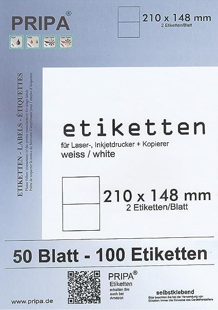 190 x 61 mm 4 etichette per foglio 200 etichette in totale 50 fogli A4 pripa Etichette autoadesive per raccoglitori