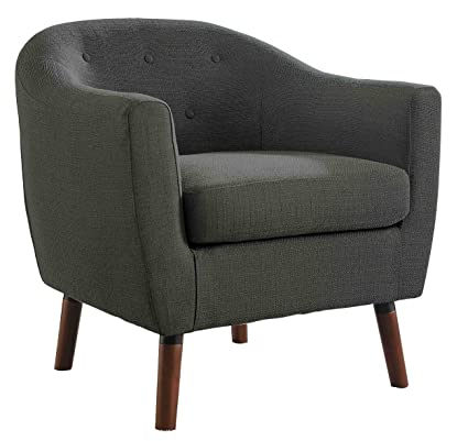 Beau Homelegance Lucille Fabric Upholstered Pub Barrel Chair, Gray