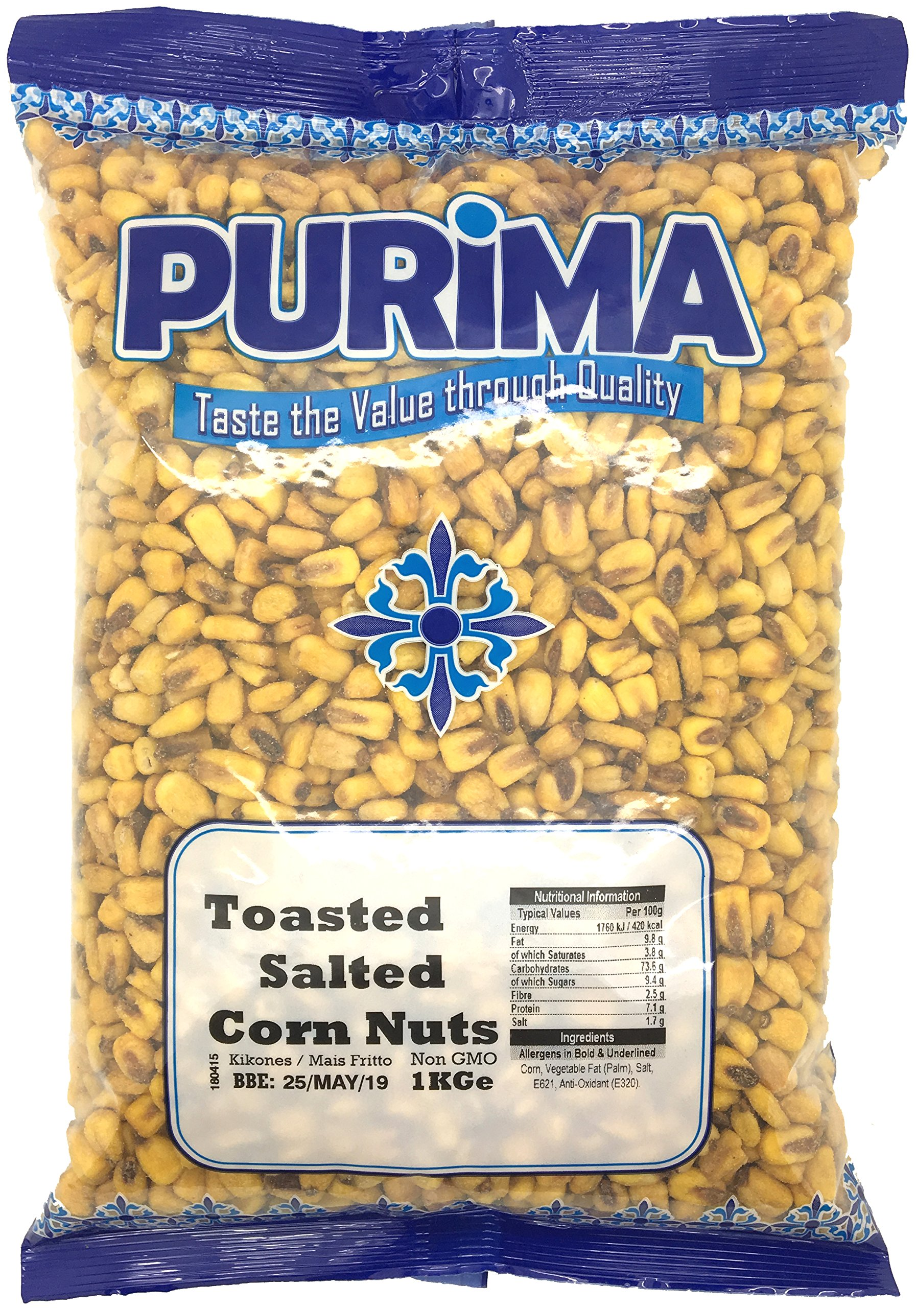 Toasted Corn 1kg – Original Salt Flavour - Roasted Salted Corn Nuts Kernels - Fresh Crispy Crunchy Authentic Spanish Savoury Snack – Ready to Eat - Bulk Bag – Non GMO Vegan Plant Based Snacks - PURIMA