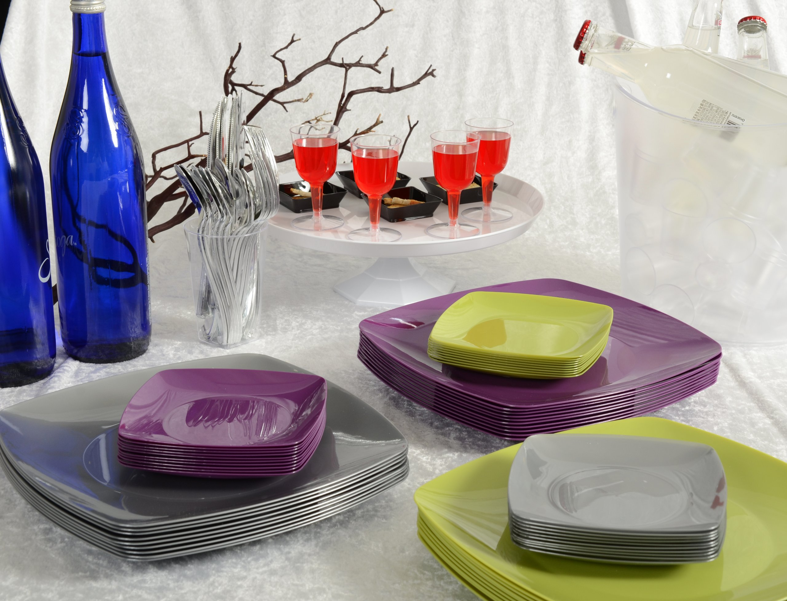 Renaissance 120-Piece Rounded Square China-Like Plate, 7.5-Inch, Purple, Case of 12 by Renaissance (Image #2)