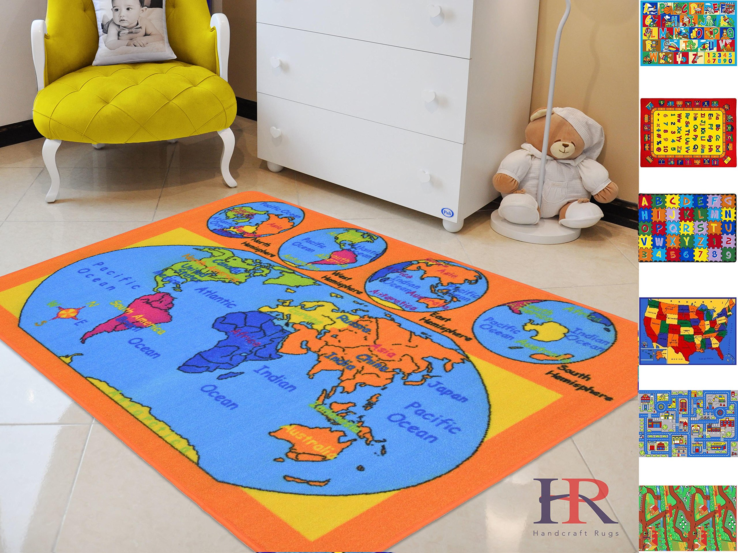 Handcraft Rugs-Kids Educational/Playtime/ Non-Slip Rugs World Map Puzzle Orange and Multi Color 8 ft. by 10 ft.(WORLD MAP)