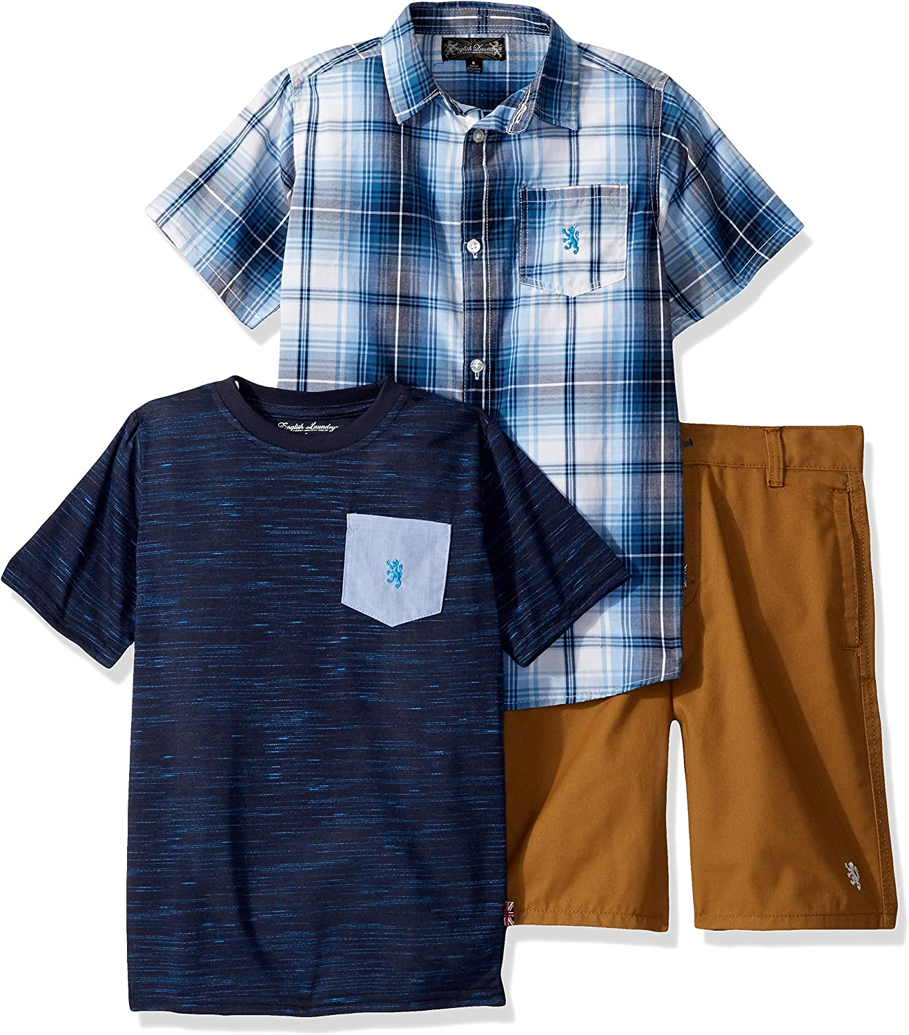 English Laundry Boys Sleeve Plaid Woven, T-Shirt, and Short Set