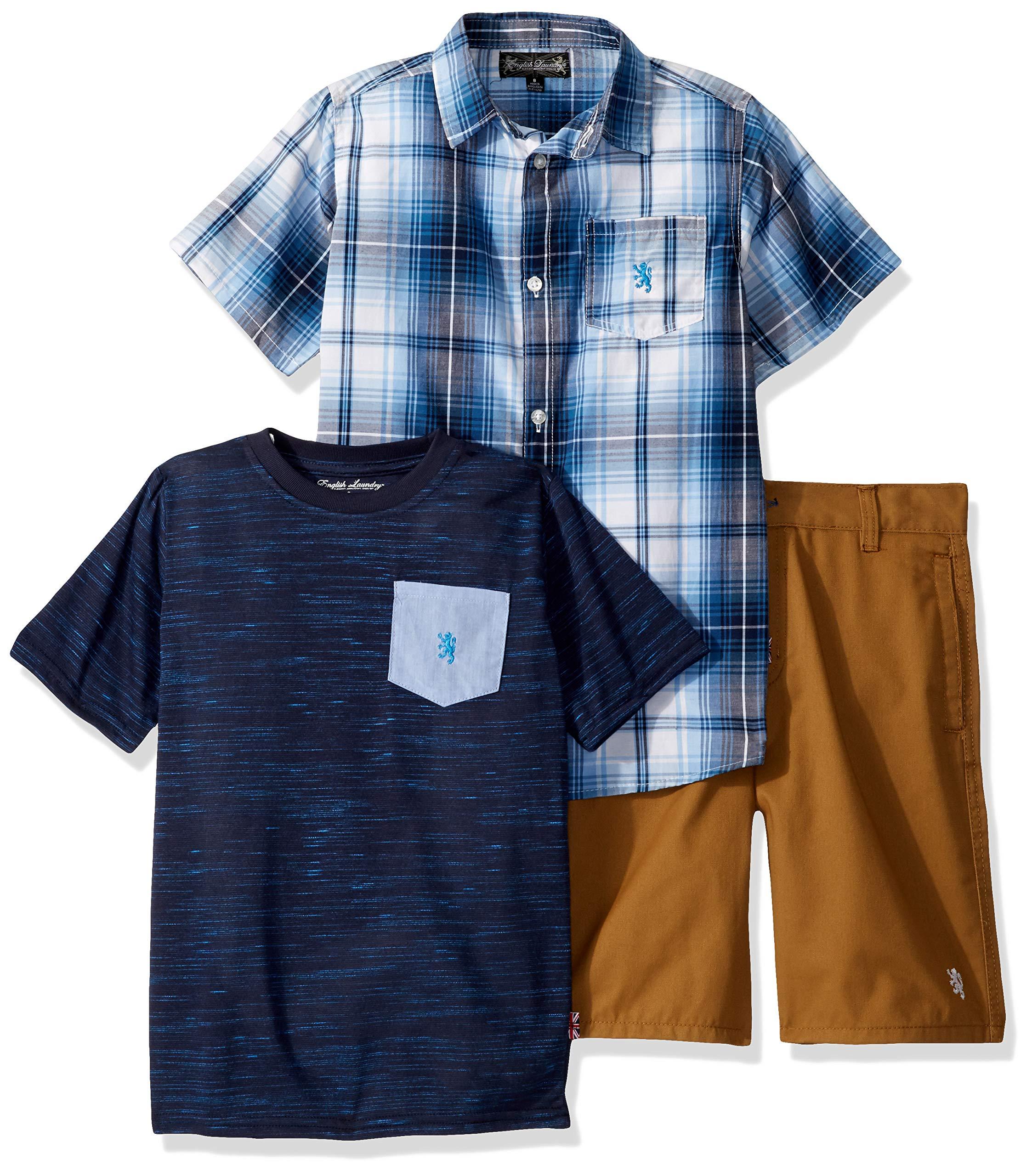 English Laundry Boys' Big Sleeve Plaid Woven, T-Shirt, and Short Set, Multi, 10
