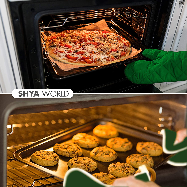 adecuado para cocinar barbacoa con diferentes colores y material para elegir. hornear ShyaWorld Manoplas de Cocina horno Pack guantes resistentes al calor de dise/ño