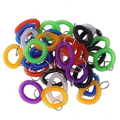 35 unidades surtidos color elástico plástico Bobina de pulsera muñeca muñeca banda clave Anillo Cadena Soporte Etiqueta (35pcs-7 Mixed Color): Oficina y papelería