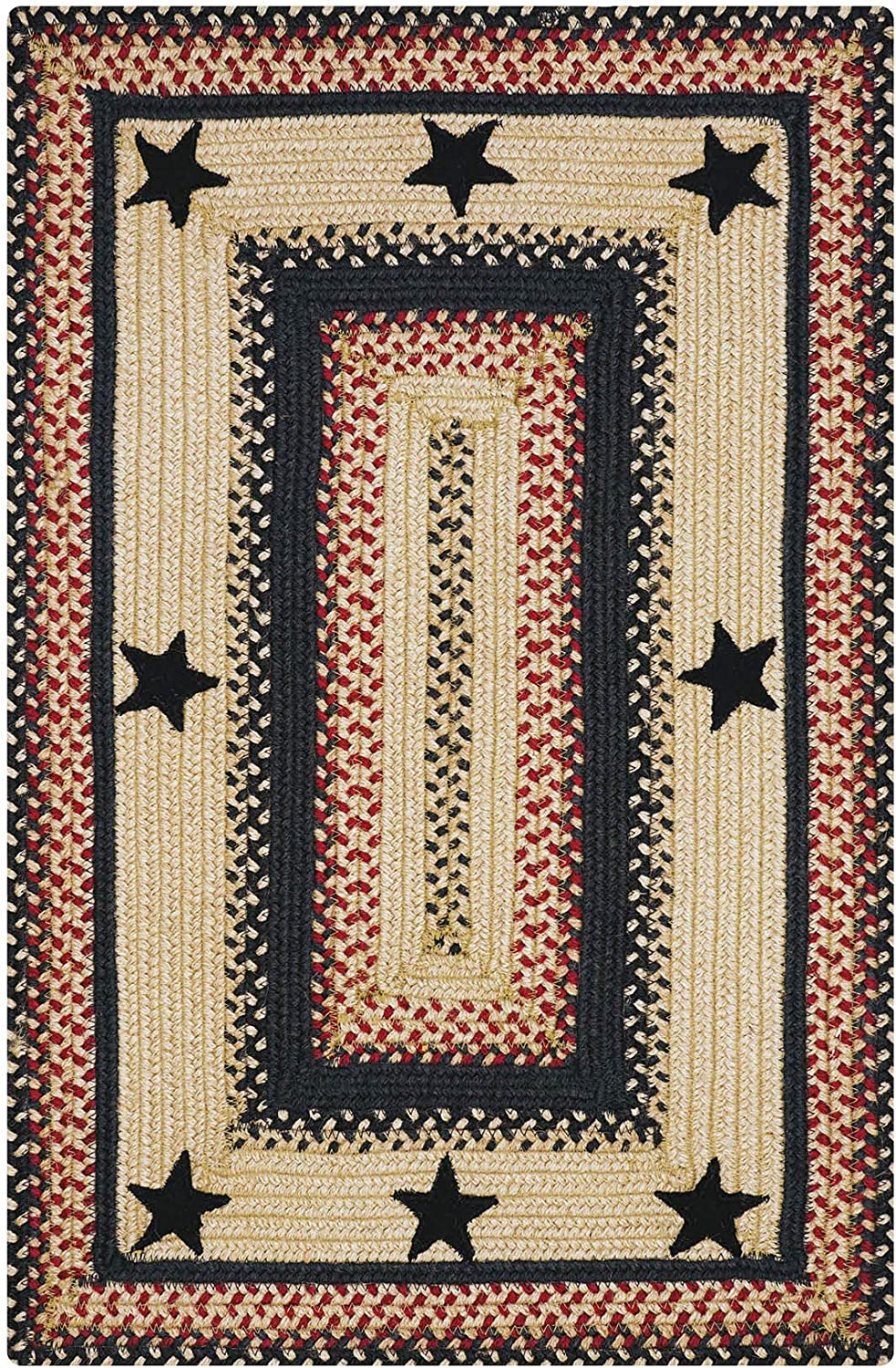 Primitive Star Gloucester Premium Jute Braided Area Rug by Homespice, 20 x 30 Rectangular Black, Reversible, Natural Jute Yarn Rustic, Country, Primitive, Farmhouse Style - 30 Day Risk Free Purchase