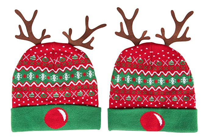a43498b33891b Juvale Christmas Beanie Hat - 2-Pack Reindeer Antler Cuffed Fold ...