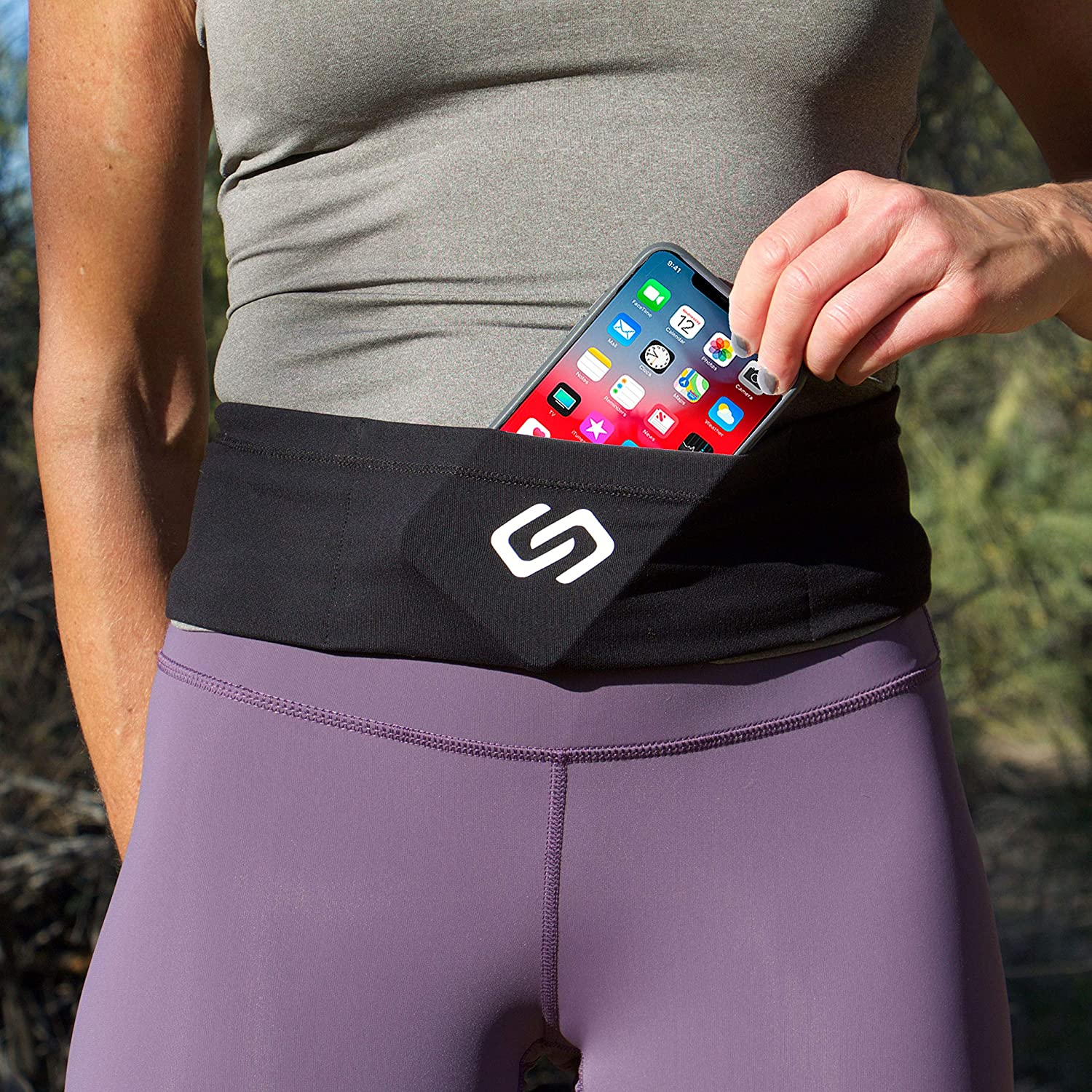 Sporteer VersaSlim Running Belt, Travel Money and Passport Belt, Workout Waist Pack for Large Phones and Personal Items