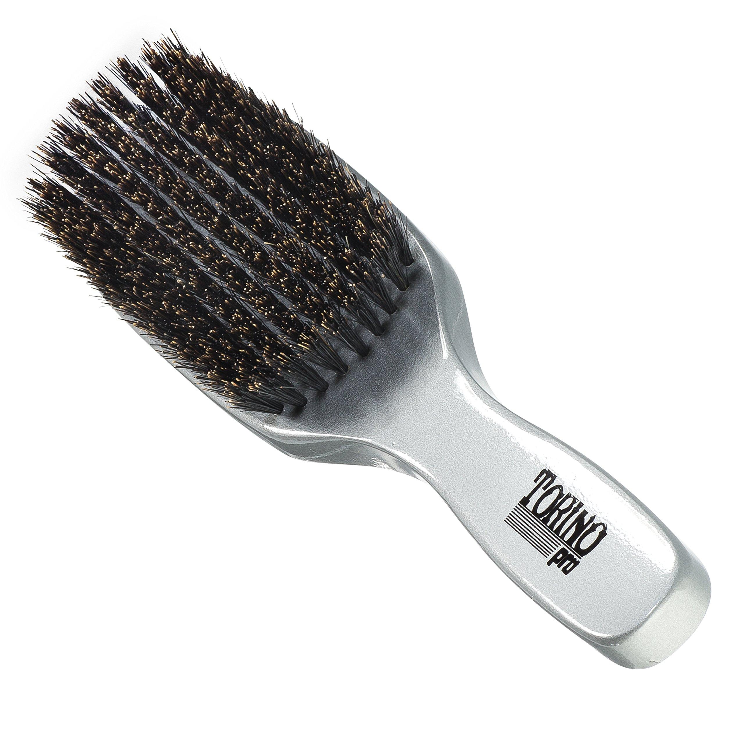 Torino Pro Wave Brush #510 By Brush King - 9 Row, Medium Wave Brush with Long Bristles - Made with 100% Boar Bristles -True Texture Medium - All Purpose 360 Waves Brush