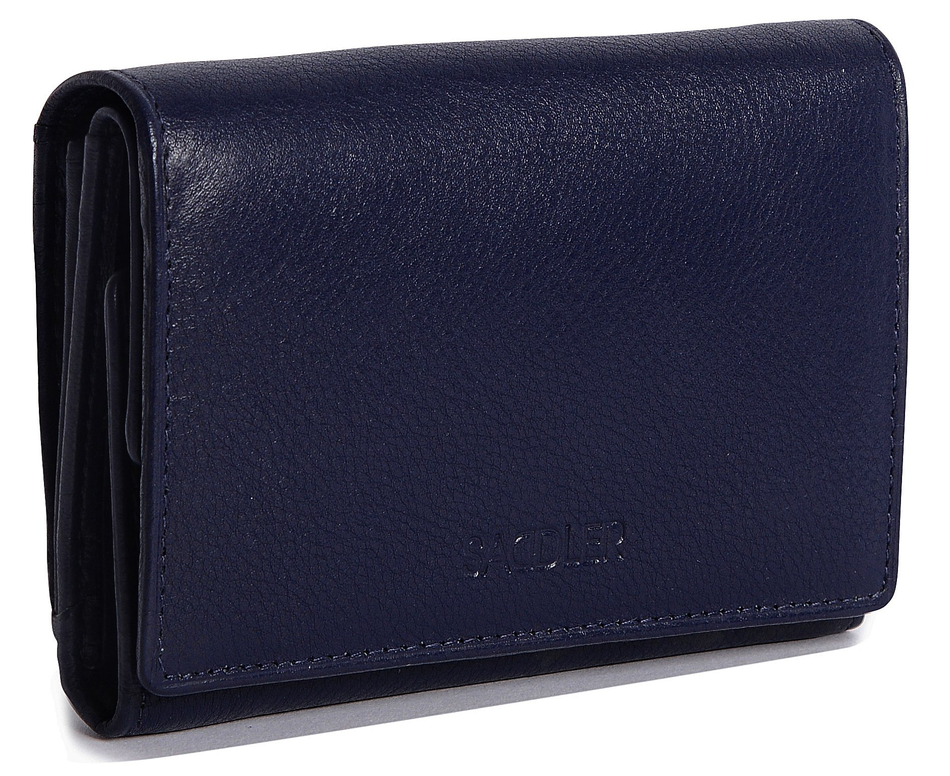 SADDLER Womens Leather Double Flap Coin Purse Trifold Wallet - Peacoat Blue