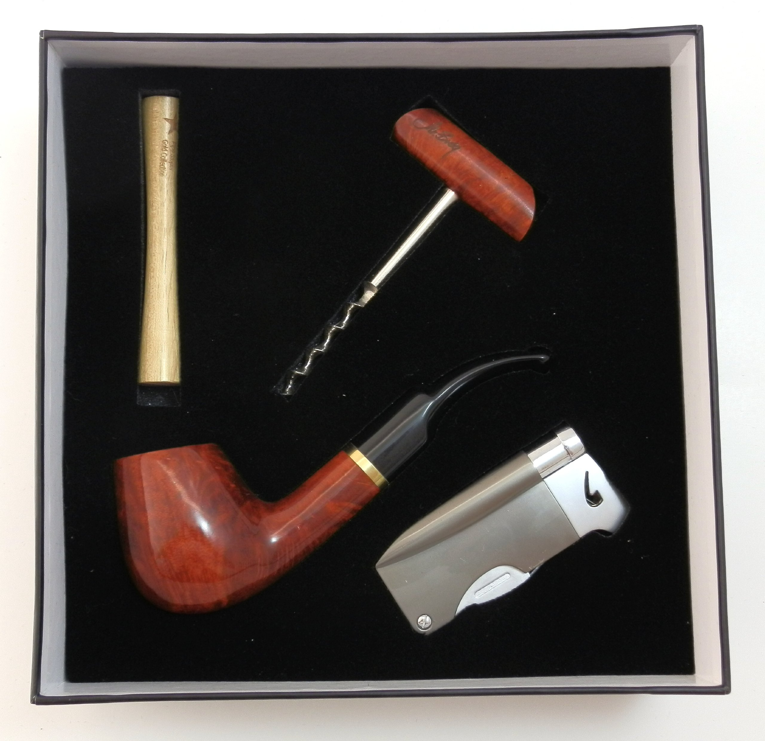Tobacco Pipe Gift Set - Mr. Brog Gold Collection - Briar Pipe, Stand, Tamper, Lighter w Tool, Wine Opener - Hand Made