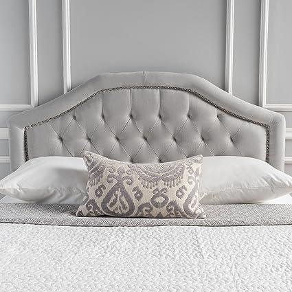 super upholstered king queen headboard velvet light gray grey fabric