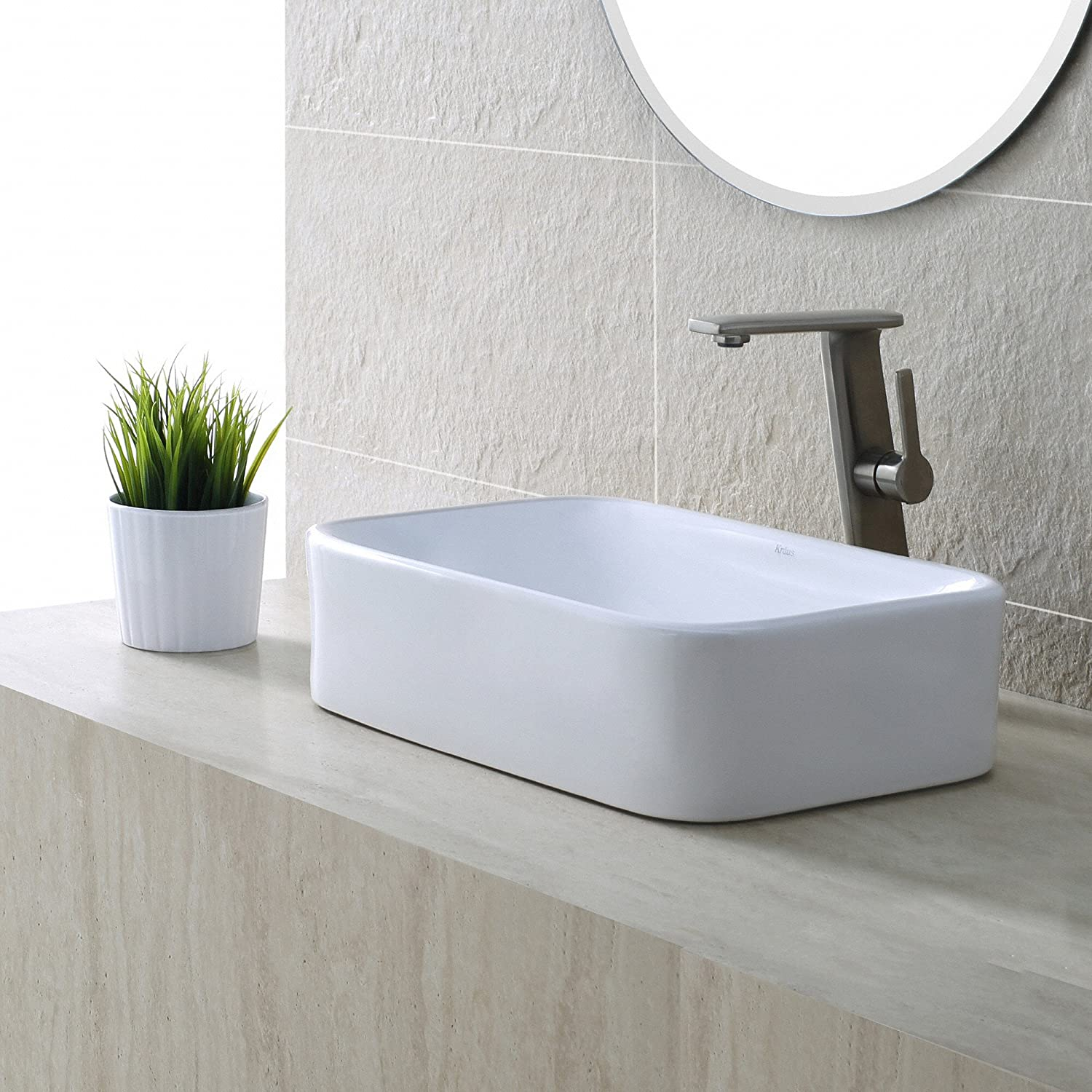 Bathroom sink rectangular - Kraus Kcv 122 White Rectangular Ceramic Bathroom Sink Vessel Sinks Amazon Com