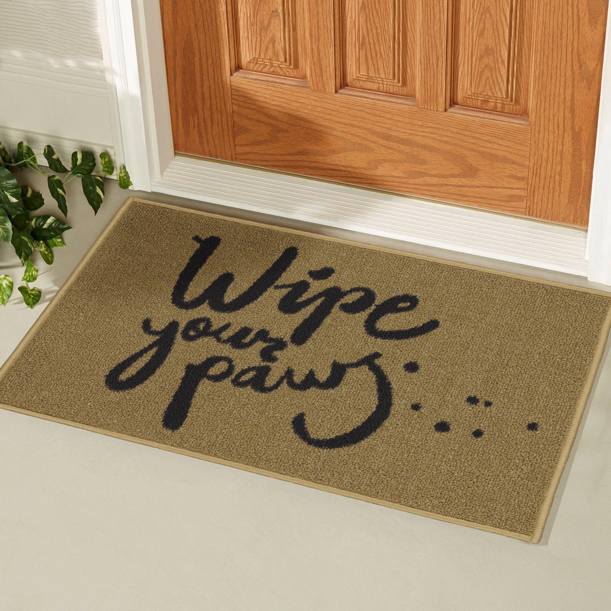 Ottomanson Doormat Collection Rectangular Wipe Your Paw Doormat, 20'' X 30'', Beige