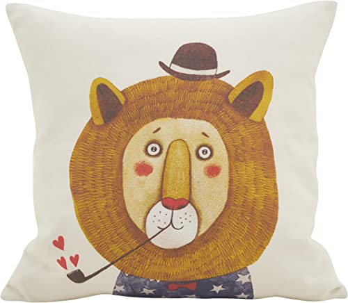 SARO LIFESTYLE Cuddly Critter Collection Lion Heart Poly Filled Throw Pillow, 16