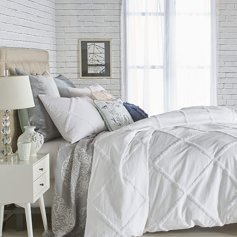 Peri Home Chenille Lattice 100% Cotton 3-Piece Solid Color Comforter, Full/Queen, White