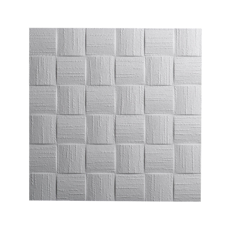 Decosa Dalle de plafond Dublin, blanc 50 x 50 cm - PRIX SPECIAL LOT DE 2 SACHETS (= 4m2) Saarpor