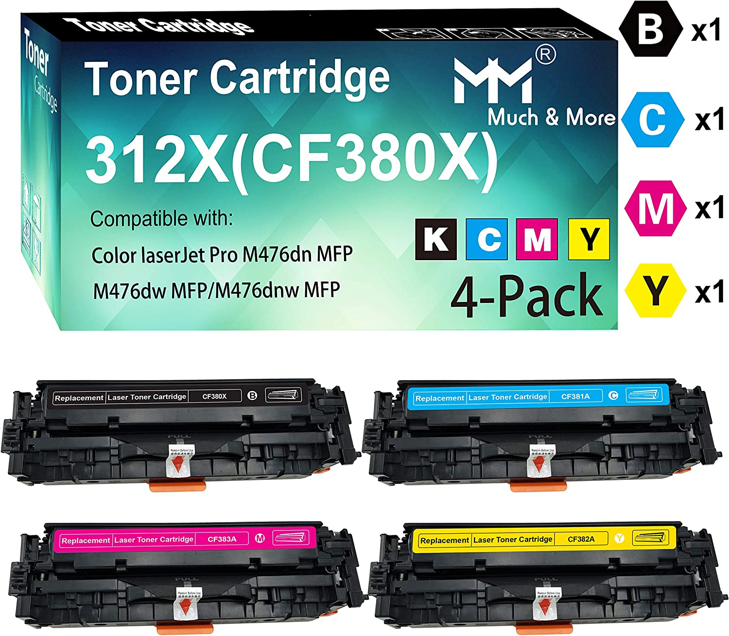 4-Pack (BK+C+M+Y) Compatible CF380X CF381A CF382A CF383A Toner Cartridge 312X Work with HP Color Laserjet Pro MFP M476dn M476dw M476dnw Printer, Sold by MuchMore