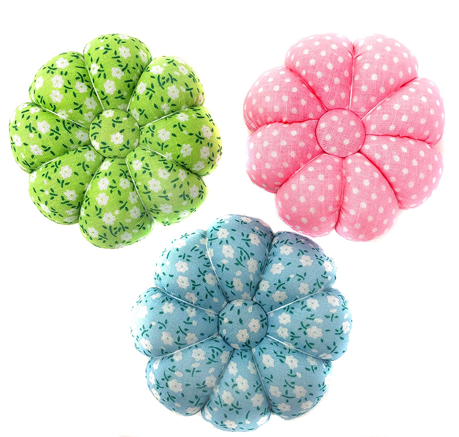 Needlework Rusoji Pack of 3 Wrist Wearable Fabric Coated Pumpkin Shaped Sewing Needle Pin Cushions with Polka Dot Flower Pattern Design for DIY Craft