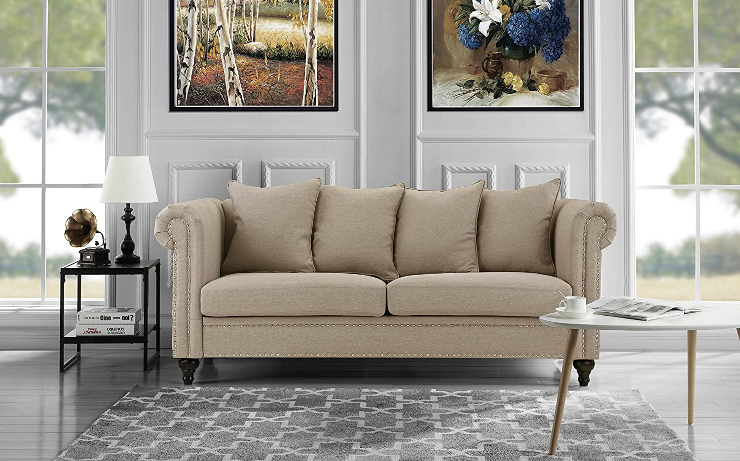 Amazon com classic chesterfield scroll arm linen living room sofa with nailhead trim beige kitchen dining