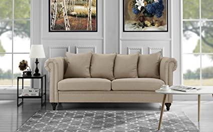 Classic Chesterfield Scroll Arm Linen Living Room Sofa With Nailhead Trim  (Beige)