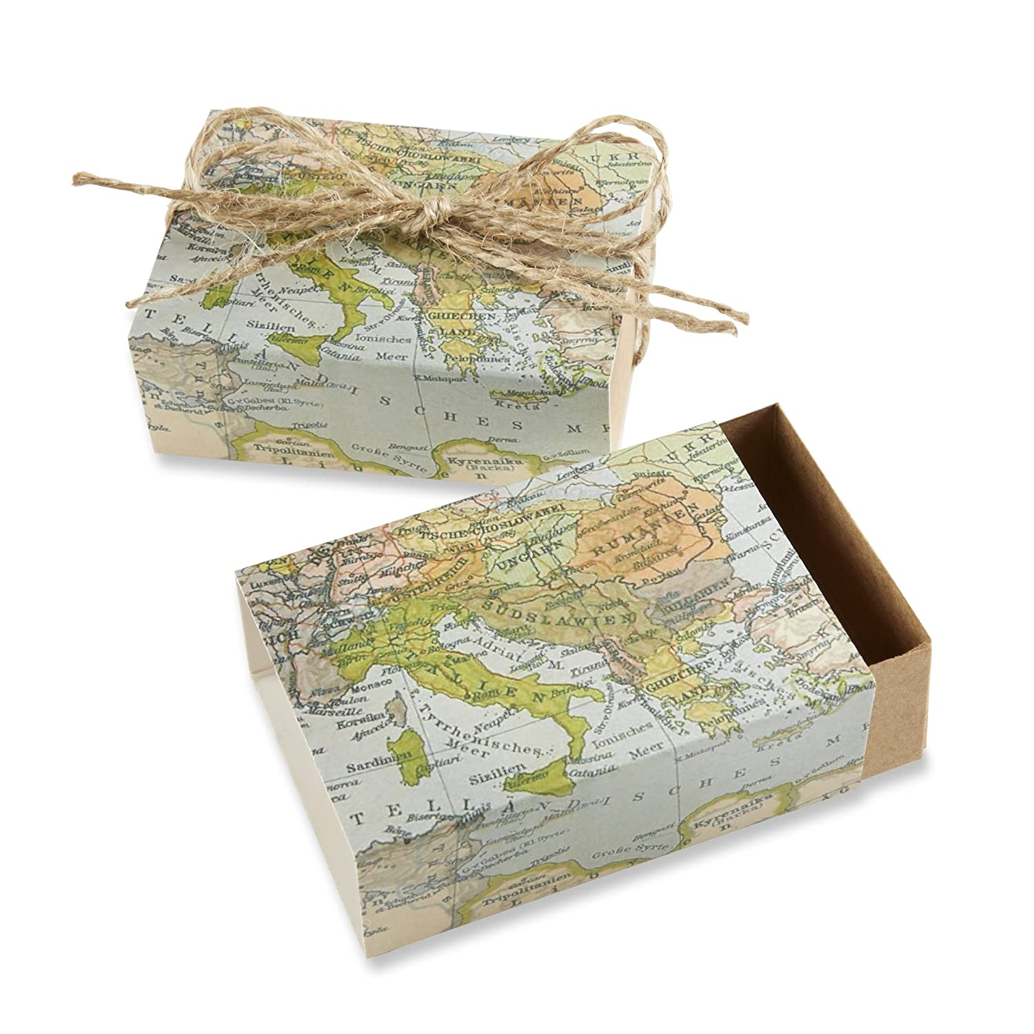 Amazon.com: Kate Aspen Around the World Map Favor Gift Box, Wedding ...