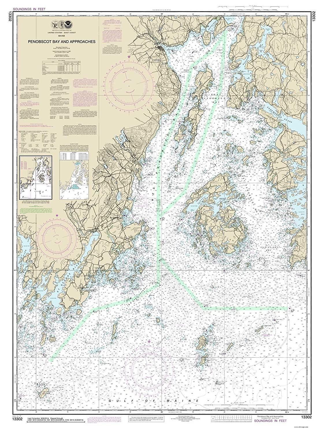 Amazon Com Penobscot Bay And Approaches 2014 Maine Nautical Map