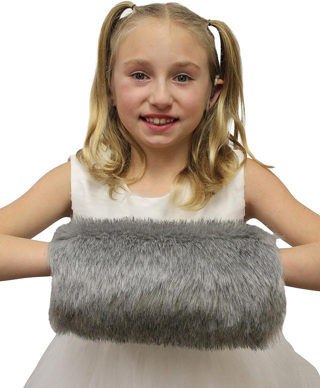White BKSKK Winter Warm Faux Fur Hand Muffs for Flower Girls