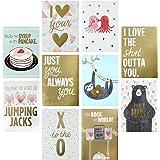 Hallmark Studio Ink Valentine's Day Greeting Card Assortment (10 Cards/Designs, 10 Envelopes Gold and Pastels)