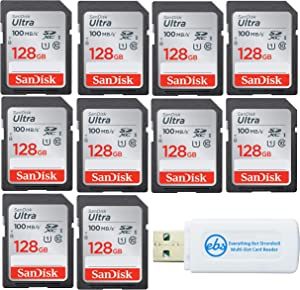 SanDisk 128GB Ultra - 10 Pack UHS-I Class 10 SD Flash Memory Card Retail (SDSDUNR-128G-GN6IN) - Bundle with (1) Everything But Stromboli Combo Card Reader