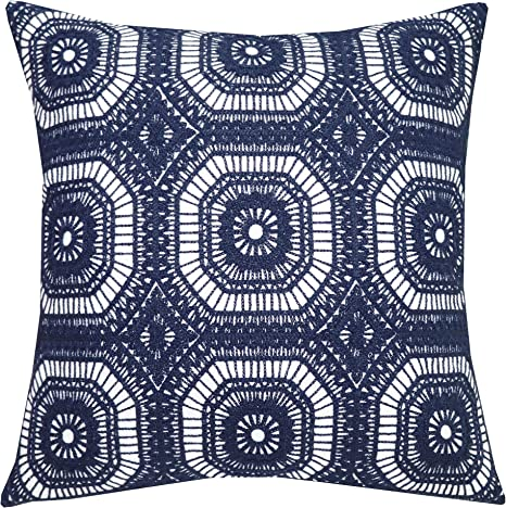 Amazon Com Slow Cow Cotton Embroidery Decorative Throw Pillow Cover Case For Couch Sofa Home Decor Modern Kaleidoscope Accent Pillow Cushion Cover 18 X 18 Inches Navy Blue Home Kitchen