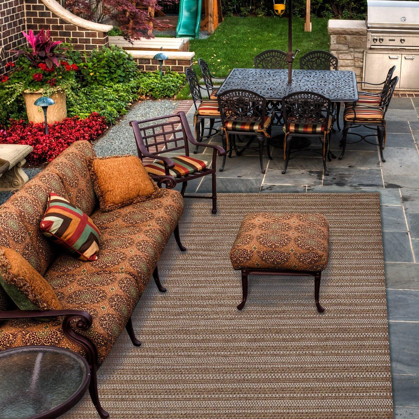 Gertmenian Brown Jordan Prime Label Outdoor Furniture Rug 8x10 Barnwell Collection Sisal Woven Modern Patio Rugs, Raven Dot Brown by Gertmenian