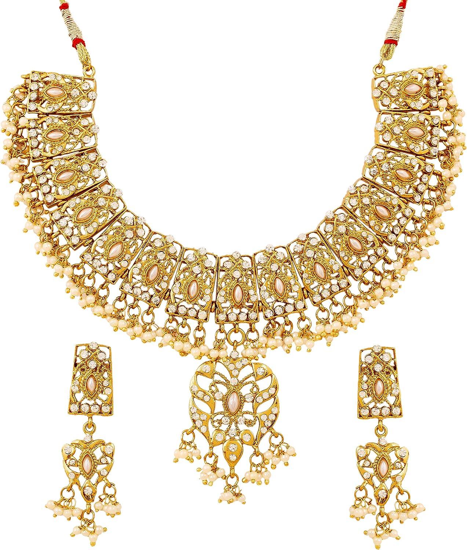 Collar de perlas sintéticas y cristales, diseño indio, ideal para novias, color dorado envejecido y blanco