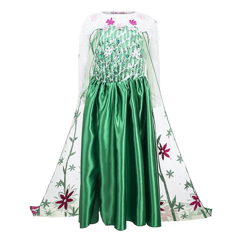 Katara Vestido de princesa de Frozen Fever, disfraz de Elsa la Reina de Hielo, verde con tren floral - para niñas de 8-9 años: Amazon.es: Juguetes y juegos