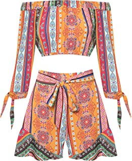 3d4f85b3a7 WearAll Womens Paisley Bardot Hot Pants Crop Top Co-Ord Set Ladies Shorts Off  Shoulder