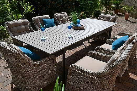 Juego de muebles de jardín Como XL. Mesa extensible (205/260 cm) con decoración de madera y 8 sillones de poliratán trenzado.: Amazon.es: Jardín