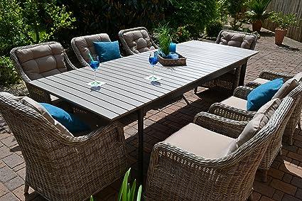 Gartenmöbel Ausziehbar.Gartenmöbel Set Como Xl 8 Tisch Ausziehbar 205 260 Holzdekor Mit 8 Sessel Rattan Polyrattan Geflecht