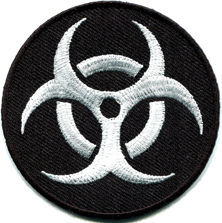 LARGE BIOHAZARD RADIATION SYMBOL EMBROIDERED IRON-ON BLACK patch WARNING SIGN