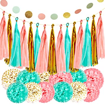 Amazon Mint Peach Gold Party Decorations Paper Garland For Baby