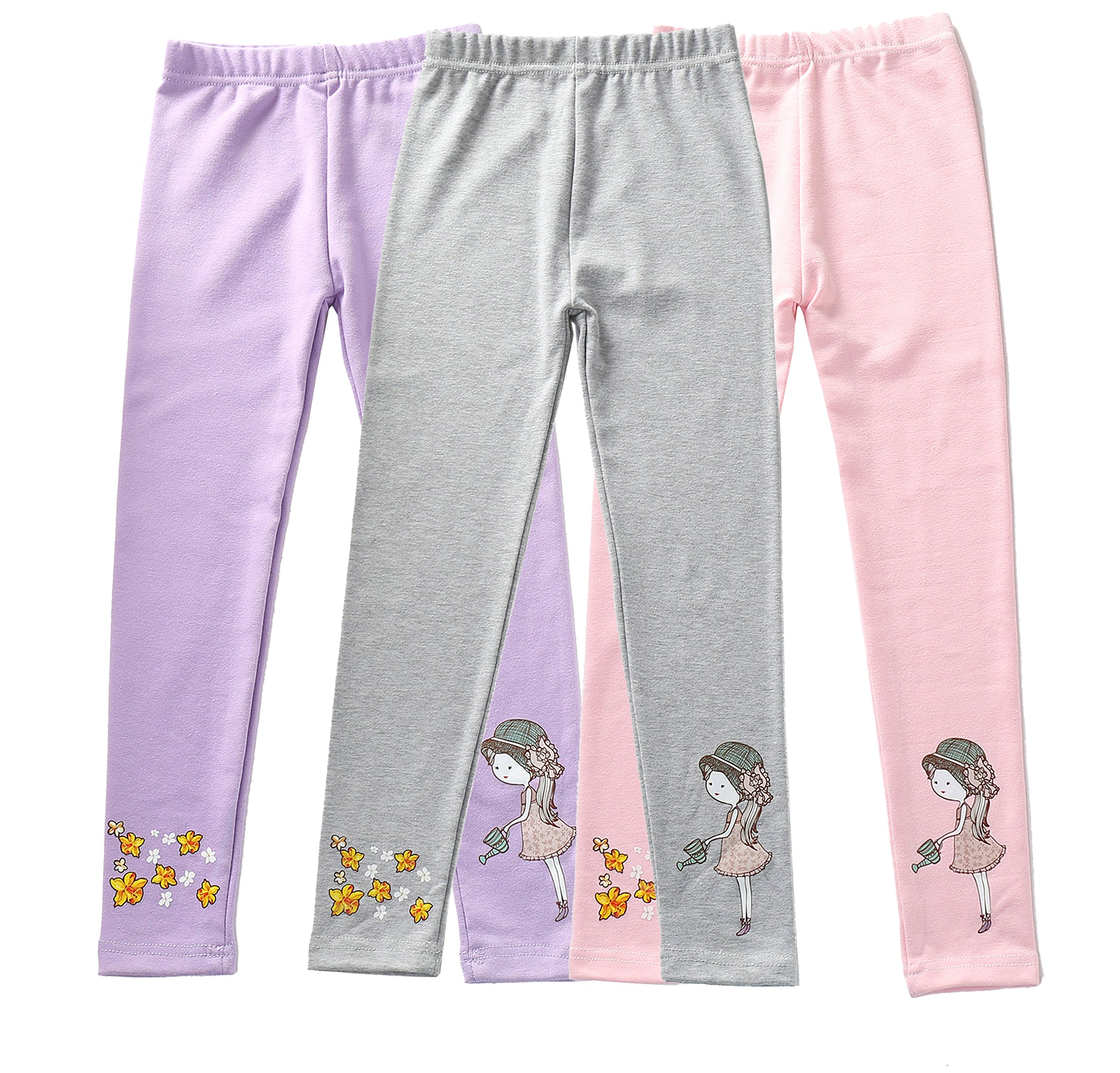 IRELIA Girls Leggings 3 Pack Cotton Novel Size 2-10 for Play 02 XXXS